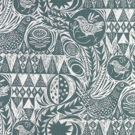 Bird Garden - Blue - A pattern of garden birds, trees and geometric shapes printed in dark teal and white to completely cover linen fabric