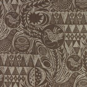 Bird Garden - Charcoal - Linen fabric completely covered with two shades of brown making up a pattern of birds, geometric shapes and small t