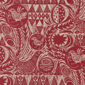 Bird Garden - Cherry Red - Fabric made from deep red and light grey linen, with a busy pattern of geometric shapes, trees and garden birds