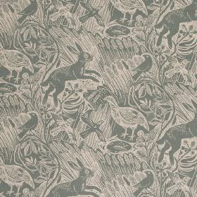 Harvest Hare - Dawn Grey - Linen fabric with a hare, bird and long grass pattern in dusky blue-grey and a light shade of grey-cream