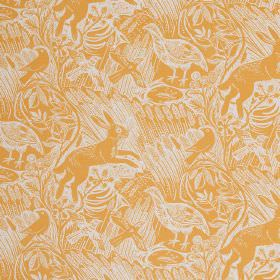Harvest Hare - Corn - Fabric made from orange and white linen, covered with a repeated pattern of long grass, hares and birds