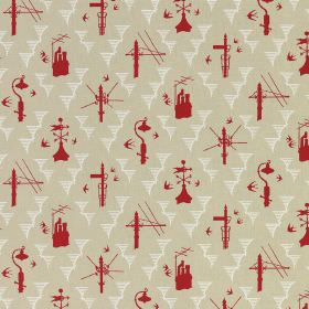 Kensal Rising - Stone Red - White, beige and bright red linen fabric, with a pattern featuring birds, telegraph poles, weathervanes and chim