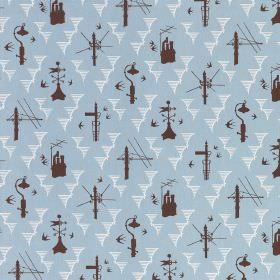 Kensal Rising - Sky Chocolate - Fabric made from light blue linen, with white shapes and dark brown chimneys, weathervanes and telegraph pol