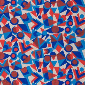 Colourdrome - Red Blue - Linen fabric in white, printed with a bright geometric pattern in red and two vibrant shades of blue