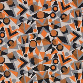 Colourdrome - Grey Orange - Grey, black and bright orange geometric shapes printed randomly over a white linen fabric background