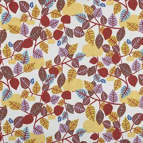 Apple - Autumn - White fabric with a modern simplistic leaf print in autumn colours