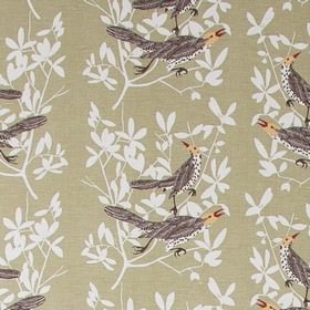 Duett - Green - Green fabric with leaf impressions and bird prints from IKEA