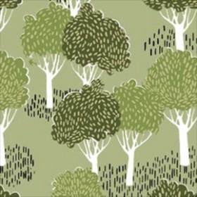 Slottskogen - Green - Green IKEA fabric with a modern forest print design