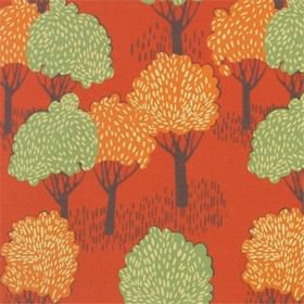 Slottskogen - Orange - Orange IKEA fabric with a modern forest print design