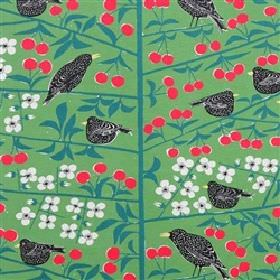 Korsbarstadgarden - Green - Modern country style green fabric design with red and white flowers and black birds from IKEA