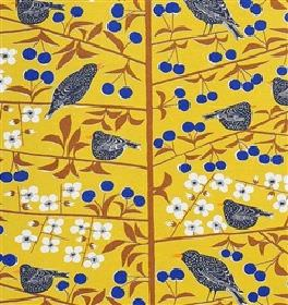 Korsbarstadgarden - Mustard - Modern country style yellow fabric design with blue and white flowers and black birds from IKEA