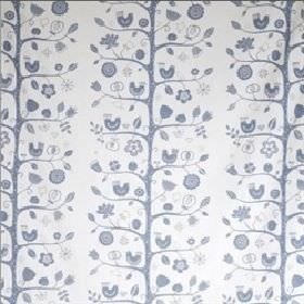 Fagelsang - Blue - Modern blue floral vine and leaf pattern on white fabric from IKEA