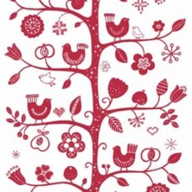 Fagelsang - Red - Modern red floral vine and leaf pattern on white fabric from IKEA
