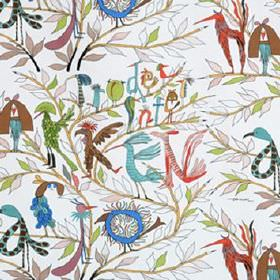 Faglarna - Multi - Flamboyant multicoloured birds formed into letter shapes and arranged in words, with green leaves on white cotton fabric