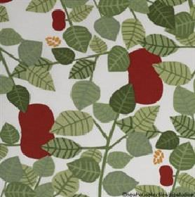 Apple - Green - White fabric with a modern simplistic leaf print in green and red