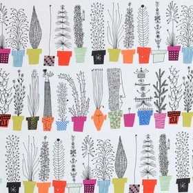 Italiensk - Blomsterhylla - White cotton fabric printed with rows of brightly coloured flower pots, each containing a different type of tree