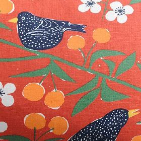 Korsbarstadgarden - Orange - Black birds, white flowers, orange berries and green leaves on a dark orange cotton and linen blend fabric back