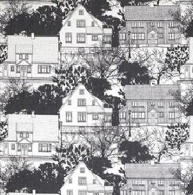 Prastliden - Black - White IKEA fabric with detailed black skecthing of town houses and trees