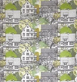 Prastliden - Green - White IKEA fabric with detailed green skecthing of town houses and trees