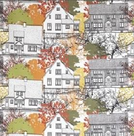 Prastliden - Multi - White IKEA fabric with detailed multicoloured skecthing of town houses and trees