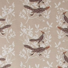 Duett - Beige - Beige fabric with leaf impressions and bird prints from IKEA