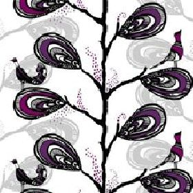 Dromtradet Dream Tree - Purple - White fabric with modern abstract purple floral and bird pattern from IKEA