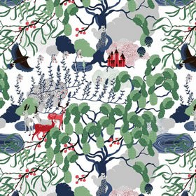 Mimers Brunn Mimers Well - Green - White IKEA fabric with an abstract green forrest print design with animals for children
