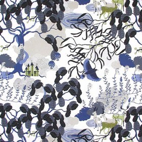 Mimers Brunn Mimers Well - Grey - White IKEA fabric with an abstract grey forrest print design with animals for children