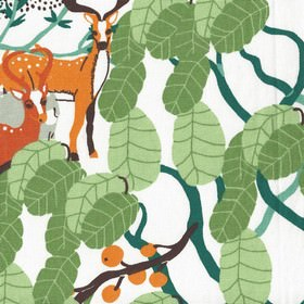 Mimers Brunn Mimers Well - Turquoise - White IKEA fabric with an abstract green forrest print design with animals for children