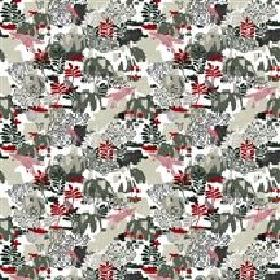 Nils - Grey - Modern white IKEA fabric with a printed forest pattern in grey