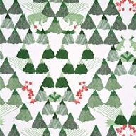 Skades Langtan - Green - Light grey IKEA fabric with a green forest, green deer and red flowers