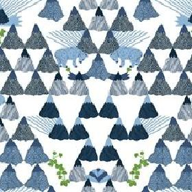 Skades Langtan - Blue - Light grey IKEA fabric with a blue forest, blue deer and red flowers