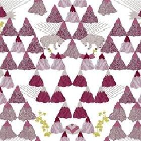 Skades Langtan - Purple - Light grey IKEA fabric with a purple forest, purple deer and red flowers