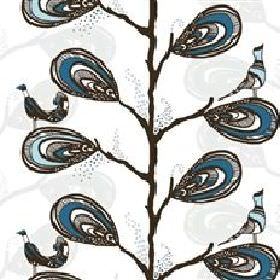 Dromtradet Dream Tree - Blue - White fabric with modern abstract blue floral and bird pattern from IKEA