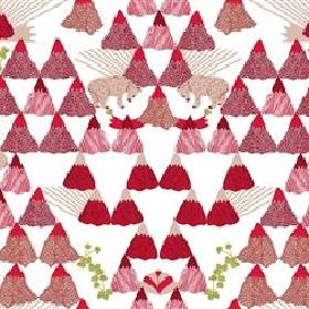 Skades Langtan - Red - Light grey IKEA fabric with a red forest, red deer and green flowers