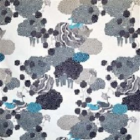 Urds Well - Grey Turquoise - Random grey and turquoise shapes on a modern white IKEA fabric