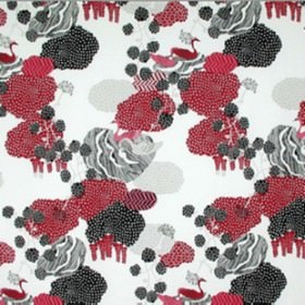 Urds Well - Red Pink - Random red and blackl shapes on a modern white IKEA fabric