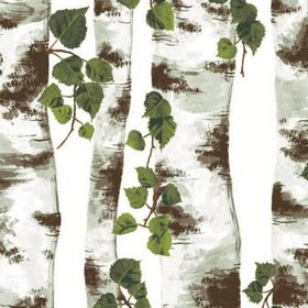 Bjork Linen - Green - Detailed print of tree trunks with leaves on white fabric from IKEA