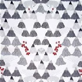 Skades Langtan - Grey - Light grey IKEA fabric with a grey forest, grey deer and red flowers
