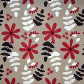 Under Solen - Natural Red - White, red, and black leaf and flower impressions on natural brown IKEA fabric