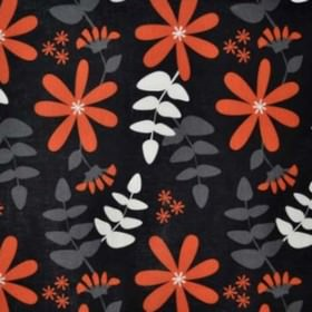 Under Solen - Black Orange - Orange, white, and grey leaf and flower impressions on black IKEA fabric