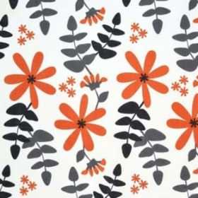 Under Solen - White Orange - Orange, black, and grey leaf and flower impressions on white IKEA fabric