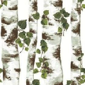 Bjork Cotton - Green - Detailed print of tree trunks with leaves on white fabric from IKEA