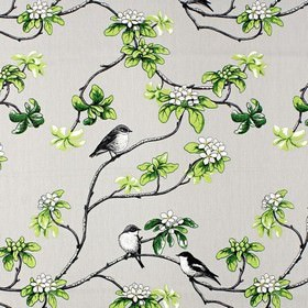 Klostertradgarden - Green - White IKEA fabric with pattern of green branches with leaves