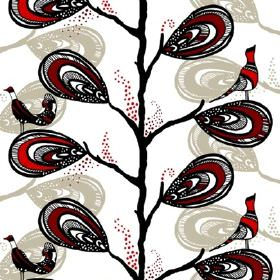 Dromtradet Dream Tree - Red - Feather-like leaf shapes printed on white cotton in beige, red and black with a black tree trunk and red and b