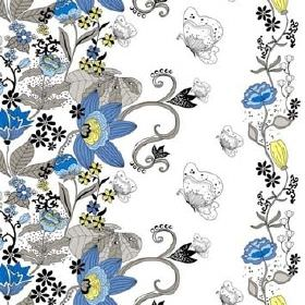 Fjarilarium - Green - White cotton fabric with line drawings of butterflies and ornate busy floral patterns in shades of yellow, blue and gr