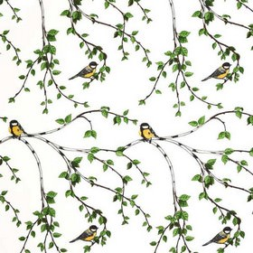 Glantan - Multi - Fabric made from cotton in white, with simple grey branches, green leaves, and occasional yellow garden birds