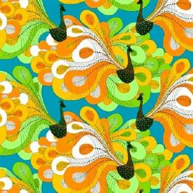 Pavo - Orange - Bright cotton fabric with an aquamarine background, black birds & orange, lime green and white swirling peacock feathers