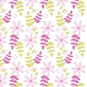 Under Solen - Pink Lime - Fabric made from white cotton, with simple light pink-purple flowers, and sprigs of leaves in both green and dark