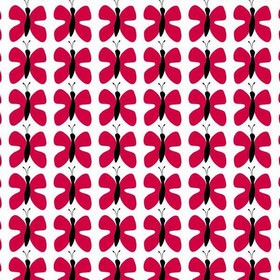 Fjaril Butterfly - Minired - White IKEA fabric with small black and red butterflies for children